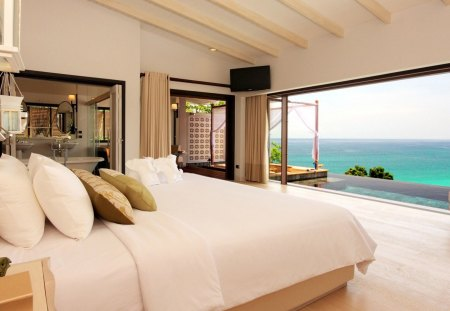 BEDROOM WITH LOVELY VIEW - relaxation, sky, bed, view, curtains, architecture, photography, white, bedroom, peaceful, ocean