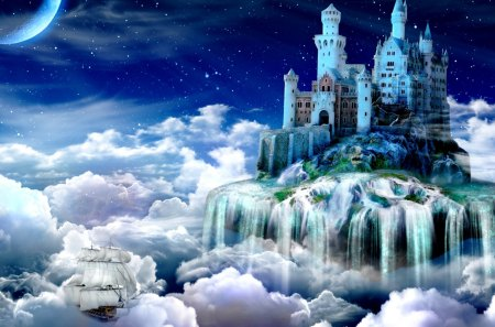 FAIRY TALE CASTLE - castle, fairy tale, cloud, night
