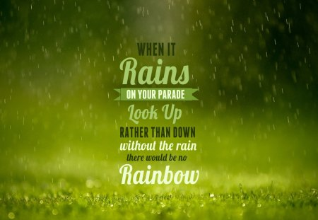Rain Rainbow - rain, green, nature, rainbow