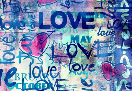 SPLASHES OF LOVE - walls, artwork, love, hearts, romance, cg, paint
