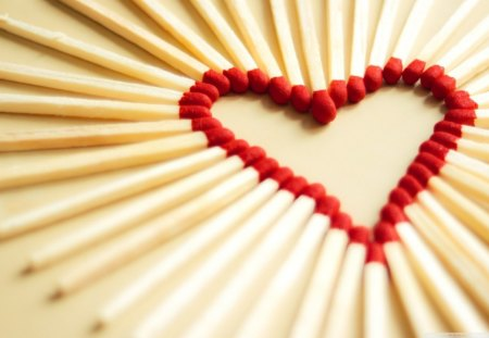 SET MY HEART ON FIRE - wood, arts, abstract, hearts, matches, love, red, fire, romance, strike
