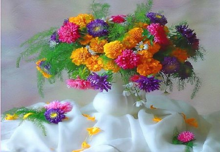 Summer explosion - colors, gold, red, pink, purple, flowers, yellow, vase, white