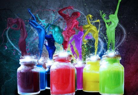 PEOPLE PAINT SPLASH - green, people, splash, abstract, paint, yellow, purple, photography, 3d, red, rainbow