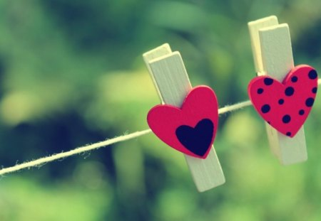 Two is better - pegs, green, black, two, red, hearts