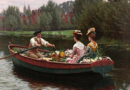 Market Day - lake, ladies, painting, art, row, flirt, courting, victorian, watercolor