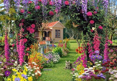 Paradise house - flowers, garden, beautiful, pretty, tree, cottage, nice, house, grass, alley, green, summer, countryside, colorful, floral, lovely, paradise, kitten, cat, wisteria, nature, kitty