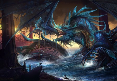 THE BLUE DRAGON - water, war, battle, dragon
