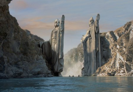 Door to an other World - water, statues, ships, mountains, stones, scifi