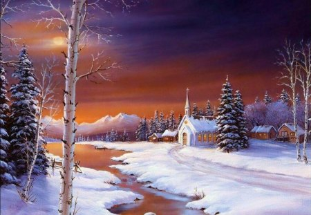 The_Holy_Peaceful_Night - water, church, trees, snow