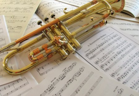 Trumpet Tunes - trumpet, photography, copper, instrument, paper, tunes, music, notes