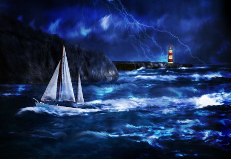 Thunderstorm at Lighthouse - flashlights, clouds, storm, blue, sailboat, sea