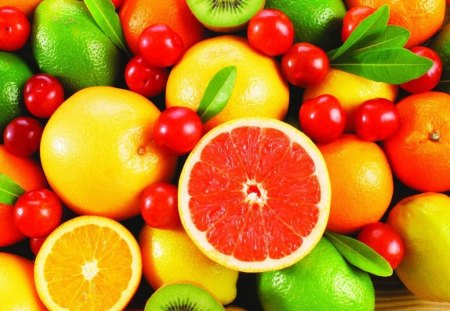 FRUIT COLLAGE - fantasy, cool orange limon, collage, fruit, salad