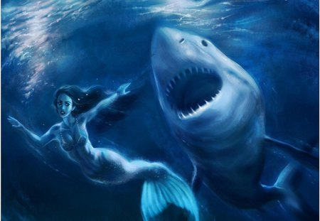 action_scene - mermaid, sea, the abyss, shark