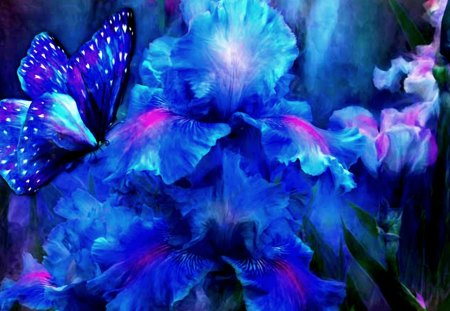 IRISES & BUTTERFLY - flowers, butterly, art, irises
