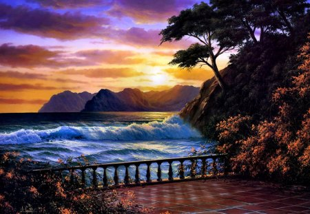 BEAUTIFUL SUNSET - painting, mountain, ocean, sunset