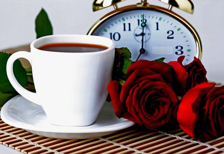 TEA SERVED! - alarm, roses, clock, tea