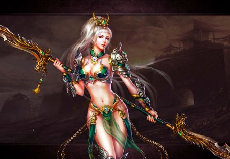 SEXY WARRIOR GIRL - sexy, art, warrior, beauty, girl