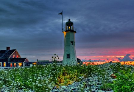 The Lighthouse - splendor, flowers, evening, amazing, beautiful, rocks, view, beauty, architecture, lighthouse, sunset, house, grass, green, colorful, sky, colors, lovely, houses, lanterns, clouds, nature, peaceful