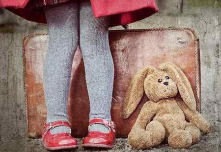 Memories of a sweetheart - memories, sweetheart, legs, toy, wall, girl, shoes, picture, colours, colors, tights, stuffed animal, wallpaper, image, pic, rabbit, suitcase