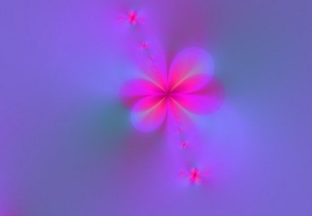 Flowers In the Mist - flowers, purple, pink, mist, abstract, fractal