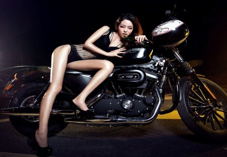 Sexy babe and Harley-Davidson - bike, hot babe, hot female, dalissa, sexy babe, harley davidson, babe, underwear, motorbike, lingerie
