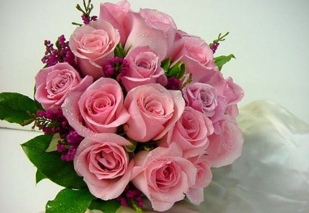 Roses for Lena - green, dew drops, flowers, roses, pink, bouquet