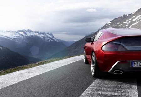 BMW Z4 Zagato - bmw, coupe, sky, mountains, rear view, zagato, z4, zagat