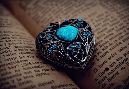 Love - photography, blue, love, romantic, heart, book, romance