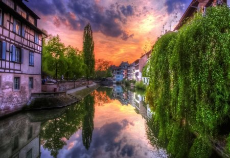Colorful Canal - beautiful, soft, smooth, silent, waterscape