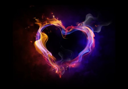 Fire Heart - abstract, love, fire, heart