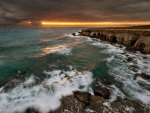 stormy sea and sky at sunset
