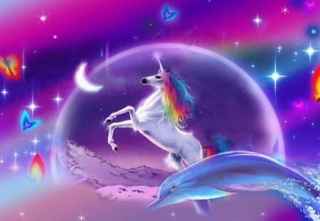 Unicorn Dreams - fantasy, rainbow, unicorn, dreams