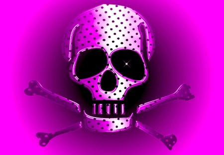 SKULLY GIRL - polka dot, black, pink, bones, crossbones, skull, pirate