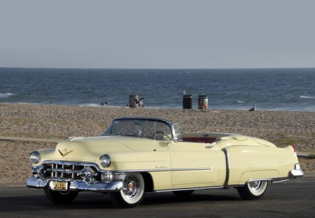 1953 Cadillac Eldorado - 1953, 53, old, antique, cadillac, beach, classic, convertible, vintage, sea, eldorado, ocean, car