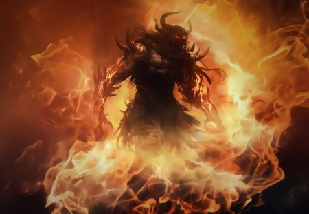 barbarian - diablo, barbarian, artwork, demons, art, fire, fantasy, horns