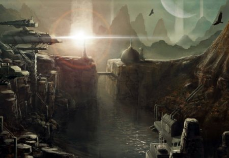 futuristic city - bridge, buildings, river, cliffs, mountains, planet, birds