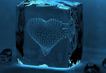 HEART OF BLUE - abstract, blue, hearts, ice, cube, cold, 3d, winter, cg