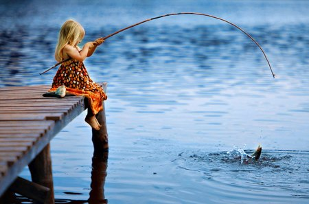 Pretty girl lakes nature background wallpapers on for Little kid fishing pole