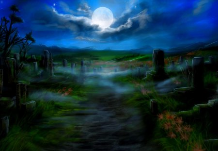 FULL MOON NIGHT - track, cemetery boards, moon, art, night