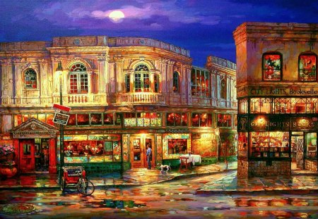 BEAUTIFUL CITY - cao yong, painting, houses, night, light, shops, moon, shop windows, street