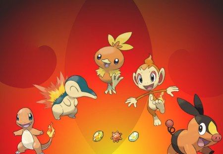 The Ones That Make The Fire Burn - cyndaquille, chimchar, charmander, torchic, fire, pokemon, tepig