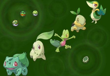 The Ones That Make The Grass Grow - snivy, turtwig, treevile, chikaritta, grass, bulbasaur, pokemon