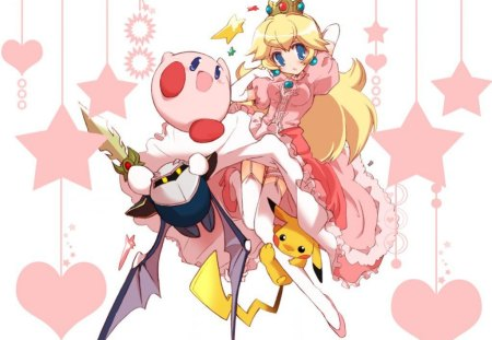 Floating Freely - kirby, pikachu, pink, metaknight, stars, princess peach, nintendo, hearts