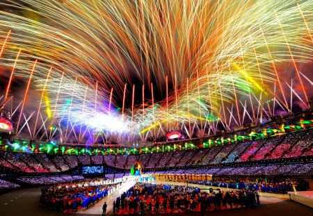 OLYMPICS 2012 - fireworks, the olympics, the stadium, 2012, closing, london
