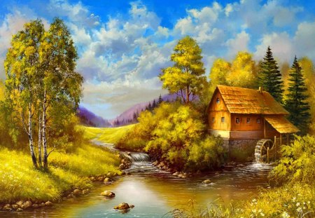Peaceful countryside place - beautiful, river, reflection, mill, autumn, cottage, water, nice, house, calm, stones, creek, summer, countryside, place, riverbank, trees, sky, shore, painting, lovely, calmness, clouds, village, bridge, cabin, nature, peaceful, stream