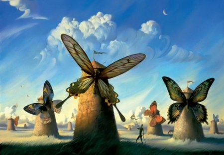 Butterfly Windmills - windmills, fantasy, butterfly, blue