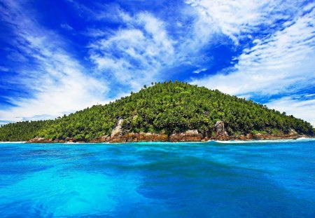 Tropical Island - scenery, amazing, blue, scenic, water, nice, ripples, awesome, beaches, picture, isle, green, trees, paisagem, waves, leaf, pc, scenario, wallpaper, desktop, clouds, sea, hills, beautiful day, cenario, cool, tropic, beautiful, multicolor, tropical island, oceanscape, peisaje, view, beauty, beije, landscape, seascape, photoshop, oceans, white, photo, stones, rock, day, scene, coral reefs, cena, paisage, colorful, sky, colors, coast, surface, sand, panorama, leaves, islands, photography, widescreen, image, nature, natural, background