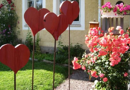 Red hearts - summer, roses, house, red, hearts