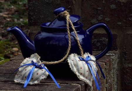 Kettle - cool, beautiful, blue, harmony, hearts, heart, kettle, nice, still life, love, romance