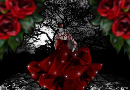 Dance with me  - roses, sparkles, love, red, hearts, waters, fantasy, dresses